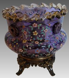 Bohemian Moser Purple Amethyst Art Glass Vase cca 1880