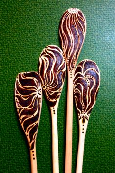 Gilded Lily wood burned spoons by Sher-T-Art