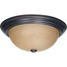 Glomar - 3 Light  15 Inch Flush Mount with Champagne Linen Washed Glass Finished in Mahogany Bronze - HD-1257 - Home Depot Canada