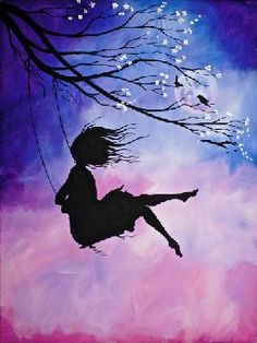 cherry blossom and girl on swing acrilic painting. Sillouette Painting, Swing Painting, Poster Color Painting, Shadow Painting, Painting Of Girl, Christmas Paintings On Canvas, Simple Canvas Paintings, Diy Canvas Art, Easy Paintings