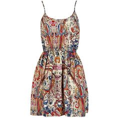 Summer Sketch Colour Paisley Strappy Dress (£1.99) ❤ liked on Polyvore featuring dresses, vestidos, short dresses, strap dress, short summer dresses, paisley dresses and mini dress