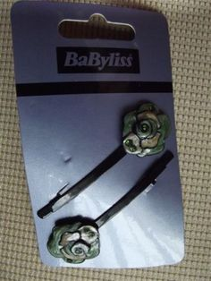 BaByliss set of 2 hair clips / hair accessory BNWT on dark metal colour Green