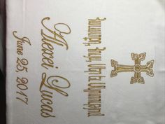 Hand-Painted Armenian Cross and Wording on Cotton/Terry Velour.  Paint is heat sealed on towel and is permanent.  The design is personalized and can be designed on other baptism items to match such as Armenian Baptism Candles, Armenian Cross Onesies and Armenian Cross Receiving Blankets. Baptism Candle, Baptism Gifts, Cross Designs, Receiving Blankets, Small Gifts, New Product, Layout Design, Onesies, Towel
