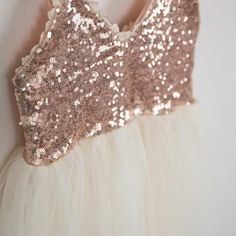 THE AVA DRESS Rose Gold Sequin Flower Girl Dress- Nicolette's Couture