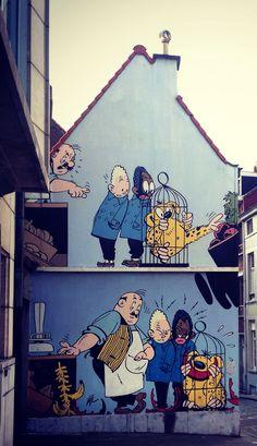 Bruxelles, comics books walls