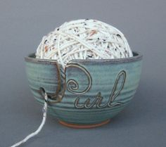 Love this Yarn Bowl Green (As Featured in Vogue Knitting) Such a great idea, stores your yarn while in use {and in such a beautiful piece of art!} Handmade Pottery MADE TO ORDER. via Etsy.