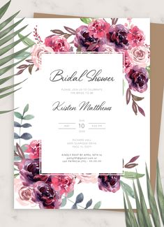 Burgundy Floral Bridal Shower Invitation template helps you complement your wedding stationery and create perfect invitations for your pre-wedding celebration guests to host a memorable bridal shower party Enjoy full customization because this invitation template is 100% editable You can customize the wording and design to your own needs and preferences via a FREE online editor that doesn't require any coding or designer skills Bridal Shower Invitation Wording, Wedding Invitation Card Design, Bridal Shower Cards, Bridal Shower Rustic, Floral Invitation, Wedding Stationery, Invitation Ideas, Invite, Shower Party