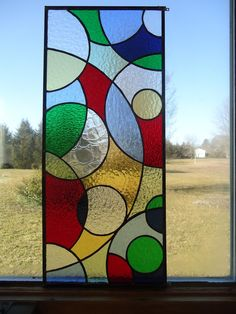 """Abstract Modern Stained Glass Transom WIndow  Suncatcher Panel Valance 25.5""""x 11"""". $160.00, via Etsy."""