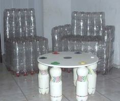 muebles con botellas pet, recicladas