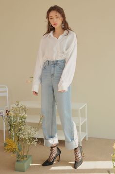 [STYLENANDA] FADED WIDE-LEG JEANS