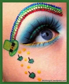 Awesome St. Patrick's Day inspired make-up perfectly accented with a crystal rainbow!