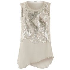 Elie Tahari Clancy Embellished Top ($555) ❤ liked on Polyvore featuring tops, going out tops, beaded top, elie tahari tops, ruffle top and beaded sequin tops