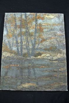Wonderful Original Signed C.W. Schlott 1916 Oil on Canvas Tree Landscape
