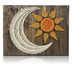 Live by the sun and love by the moon. Materials: The DIY Kit's 16″ by 12″ wood board is hand sanded and hand stained in dark walnut. Every kit includes only t