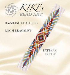 Loom pattern, Bead loom pattern Dazzling feathers - ethnic inspired LOOM bracelet cuff pattern in PD Loom Bracelet Patterns, Bead Loom Bracelets, Bead Loom Patterns, Beaded Jewelry Patterns, Weaving Patterns, Macrame Bracelets, Crochet Patterns, Bead Loom Designs, Beadwork Designs
