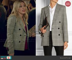 Kelsey's checked double-breasted blazer on Younger.  Outfit Details: http://wornontv.net/48008/ #Younger