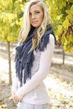 These are the perfect scarves for this fall!! You can dress up any outfit with these! This is such a statement piece and they come in four adorable colors!Maroon|| Slate|| Mustard|| Cream||For this week only FREE SHIPPING