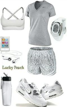 Women's fashion white Nike gym outfit by eve