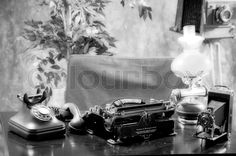 Vintage office table - Black and white stock photo on Colourbox