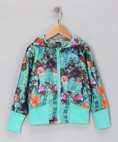Desigual Turquoise Chaq Rosa Zip-Up Hoodie - Toddler   Girls eb7c2336493
