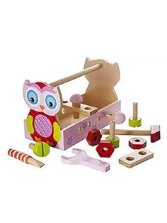 Cute Pink Owl Take Along Tool Kit Tool Box Toy Set Ideal for Toddler Girls Gift