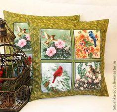 Наволочка Птицы- сезоны - оливковый,подушка,наволочка,птицы,птицы-сезоны