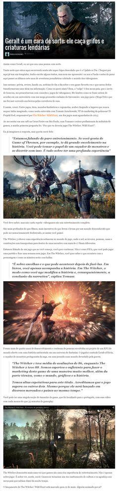 Título: Geralt é um cara de sorte: Ele caça grifos e criaturas lendárias. Veículo: Update or Die. Data: 18/03/2015. Cliente: NC Games.