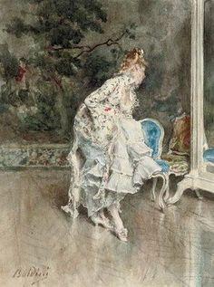 Giovanni Boldini - Signora in abito impero che si specchia (Lady in a mirror)