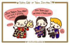 Team Cap (Steeb teddy bear & Bucky panda) or Team Iron Man (giraffe)?  [Doodle Master List]