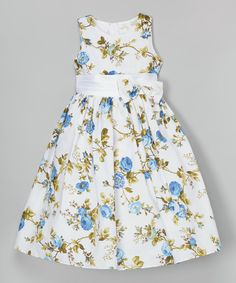 Take a look at this Shanil White & Blue Floral Dress - Toddler & Girls today!