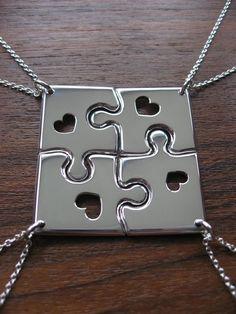 4-square puzzle friendship necklace