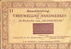 Handleiding voor Vrouwelijke Handwerken # 11 (Instructions for Women's Handwork), A. W. Sijthoff, Leiden.  Dutch book with pricking patterns