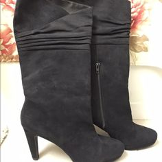 Black Suede-like Boot Heels Sz 9.5 Black boot heels with a suede like material by Mootsies Tootsies. Only worn once- in good condition.. Hard to let go but not many opportunities to wear them. Size 9.5 Mootsies Tootsies Shoes Heeled Boots