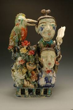 Sunkoo Yuh, Another Relationship, 30 x 18 x 17 in. Porcelain I am so Obssessed about his art works. Ceramic Figures, Ceramic Art, Clay People, Artwork Display, Contemporary Ceramics, Mixed Media Art, Tea Pots, Sculptures, Presents