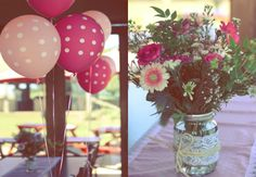 Pink & white themed baby shower with polka dots and lace