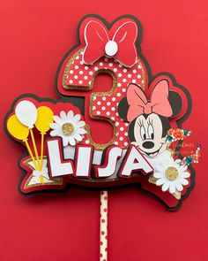 Diy Cake Topper, Custom Cake Toppers, Birthday Cake Toppers, Minnie Mouse Cake Topper, Diy And Crafts, Paper Crafts, Party Packs, Diy Party, Holiday Crafts