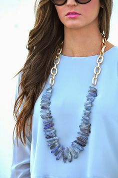 Baby blue top with statement necklace Statement Jewelry, Boho Jewelry, Beaded Jewelry, Jewelery, Jewelry Accessories, Fashion Accessories, Handmade Jewelry, Jewelry Necklaces, Beaded Necklace