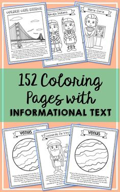 Set of 152 Historical Figures, Solar System, and USA Landmarks Coloring Pages with Informational Text and Short Biographies. Makes a great addition to history interactive notebooks, biography projects, or research units. This a GROWING bundle with 30+ more to be added by May 2017!