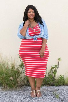 Plus Size Clothing for Women - Tailor Made Striped Dress - Coral - Society+ - Society Plus - Buy Online Now!