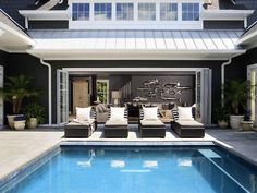 Private courtyard pool with cabana - Rehoboth Beach house rental