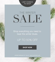 Shop the Winter Sale and get everything you need to beat the winter blues. Up to 50% off.  Expires midnight 1/25/18, while supplies last.  https://annabeatrice.avonrepresentative.com/