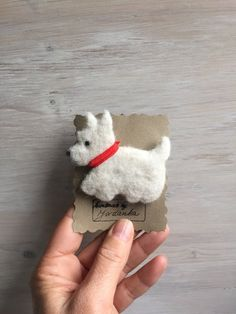 Needle felted cute West Highland White Terrier brooch made out of wool and love. Materials: wool, metal pin and love Measure: handmade Please handle with care. West Terrier, West Highland Terrier, Terriers, Cute White Dogs, Cute Dogs, Baby Puppies, Maltese Puppies, Felt Dogs, West Highland White