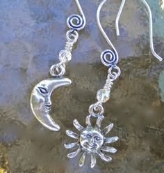 Earrings Sun and Moon Pewter Charms  FREE by GrievousAngelDesigns, $16.00