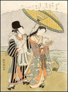 suzuki-harunobu: A bijin with her young man protecting her from a shower of rain - Japanese Art Open Database