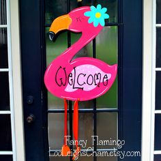 Summer Door Hanger Flamingo Door Decoration by LooLeighsCharm, $45.00