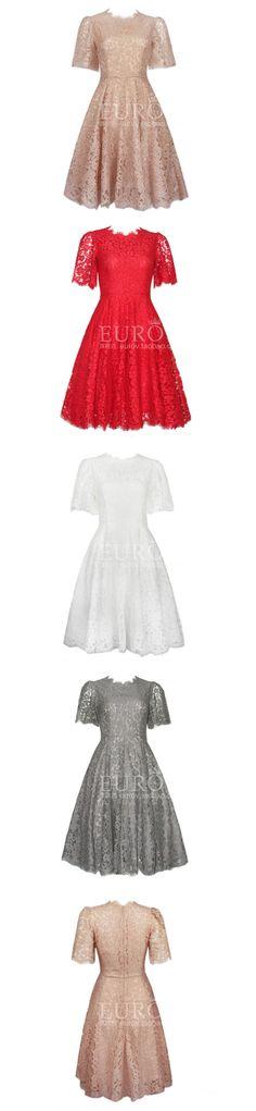 EUROV2015早春新款重工定制蕾丝 裸粉色微喇袖典雅大摆修身连衣裙-淘宝网