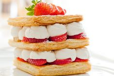 Strawberry Millefeuille recipe from Williams-Sonoma. Ingredients: 1 sheet puff pastry package), thawed according to package instructions and unfolded, 1 egg, lightly beaten, 1 c. Millefeuille Rezept, Profiteroles, The Great British Bake Off, British Baking, No Bake Desserts, Finger Foods, Baked Goods, Cheesecake, Strawberry