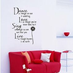 Hotportgift Dance love sing live Wall Quotes Decal Removable stickers decor Vinyl Art -