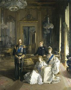 The Royal Family at Buckingham Palace, 1913 (King George V; Princess Mary, Countess of Harewood; Edward, Duke of Windsor; Queen Mary) by John Lavery Date painted: 1913 Rei George V, George Vi, Elizabeth Ii, Papua Nova Guiné, Trinidad E Tobago, Royal Family Portrait, Family Portraits, Reine Victoria, Queen Victoria