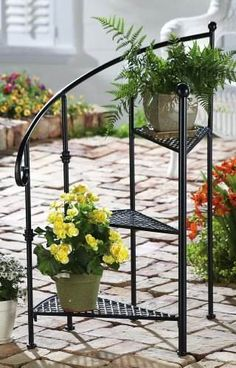 collectons etc .com~ Spiral Staircase Metal 3-Tier Garden Plant Stand